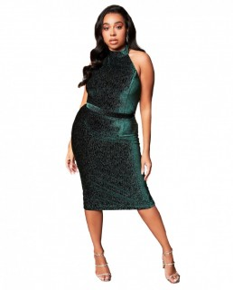 Lavish Alice Forest Green Diamante Velvet Tie Back Midi Dress