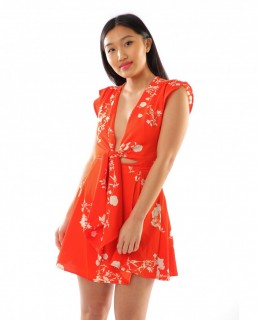 Red Floral Dress With Bow Front