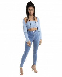 Zara Blue Soft Touch Crop Top And Cardigan Co-Ord