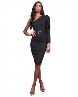 Lavish Alice Black Puff Sleeve Midi Dress With Diamante Belt
