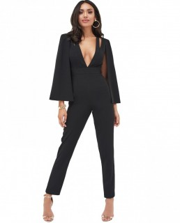 Lavish Alice Cut Out Neck Cape Jumpsuit In Black
