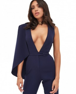 Lavish Alice Half Cape V-Plunge Tapered Jumpsuit In Navy