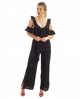 Black Polka Dot Jumpsuit With Frill Detail