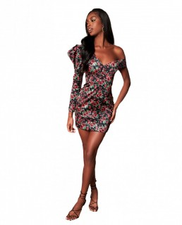 Lavish Alice Rose Print Statement Shoulder Mini Dress
