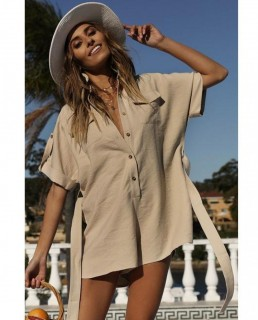 Runaway The Label Tan Shirt Style Playsuit