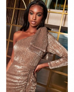 Lavish Alice Gold One Sleeve Bow Shoulder Sequin Midi Dress
