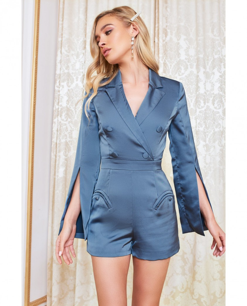 Lavish Alice Steel Blue Satin Blazer Style Playsuit