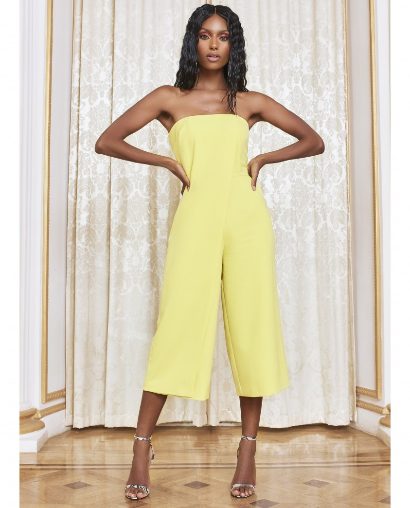 Lavish Alice Yellow Lime Bandeau Culotte Jumpsuit