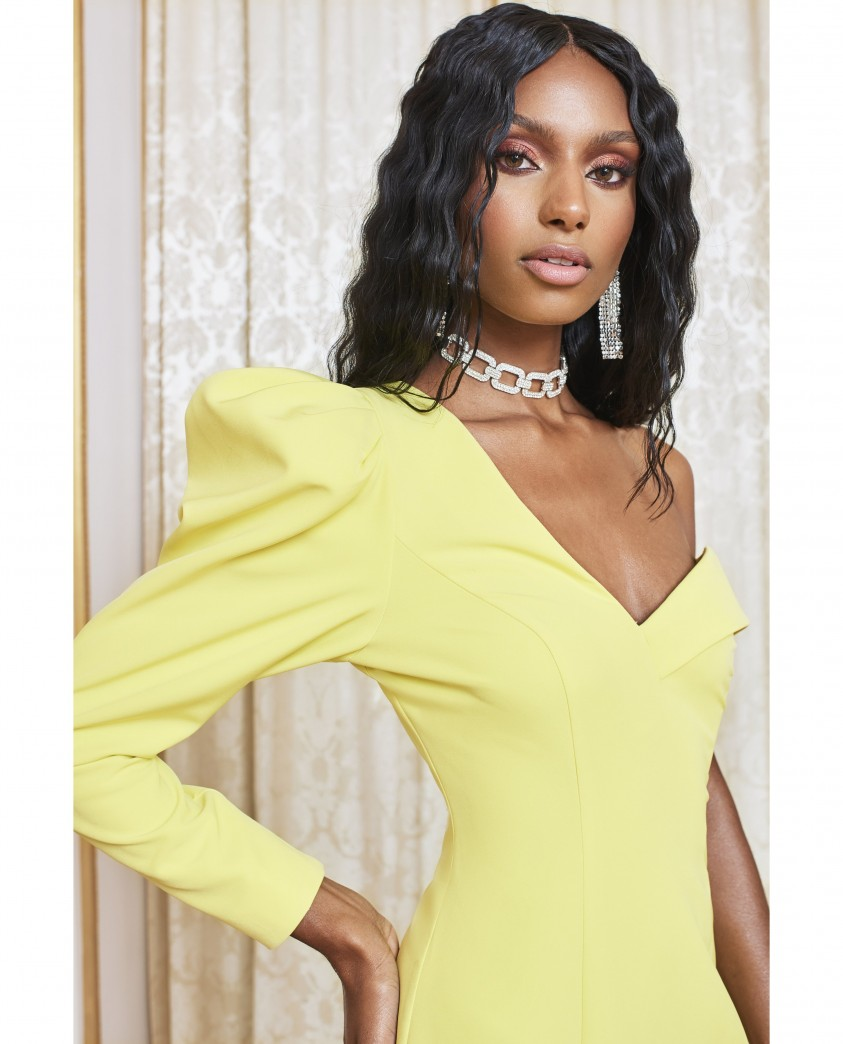 Lavish Alice Yellow Lime Statement Shoulder Mini Dress