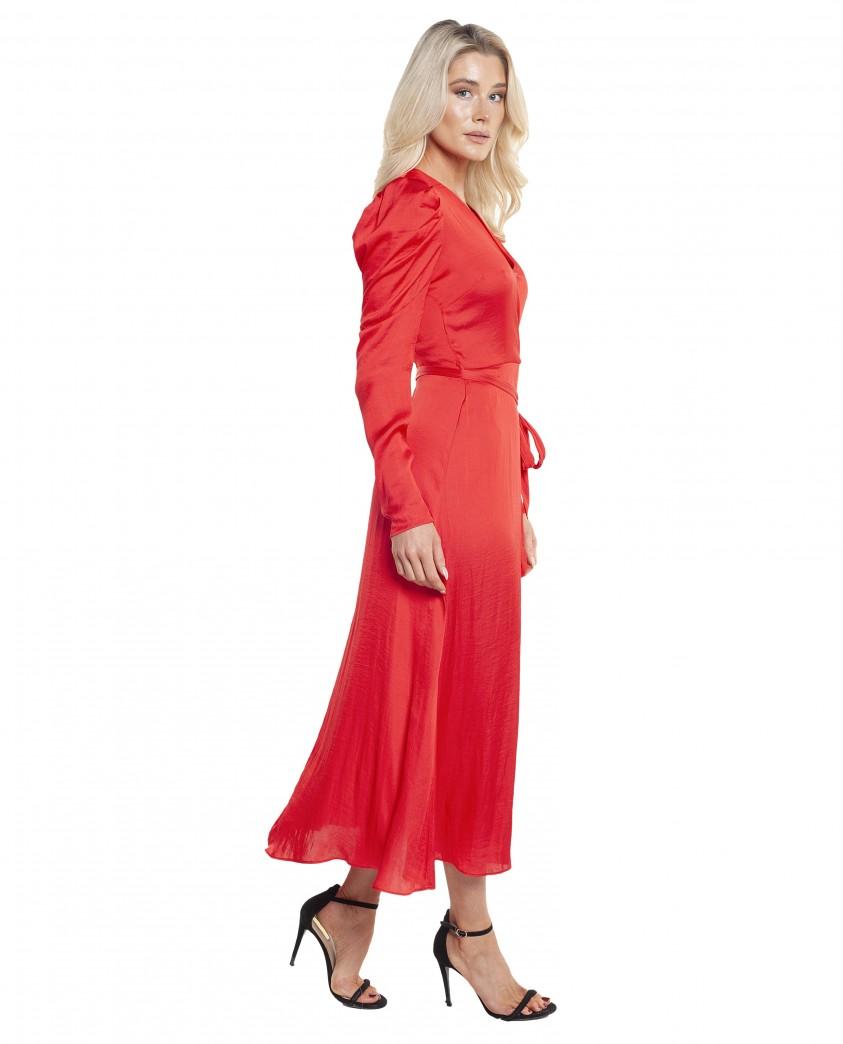 Bardot Fire Red Alivia Wrap Dress