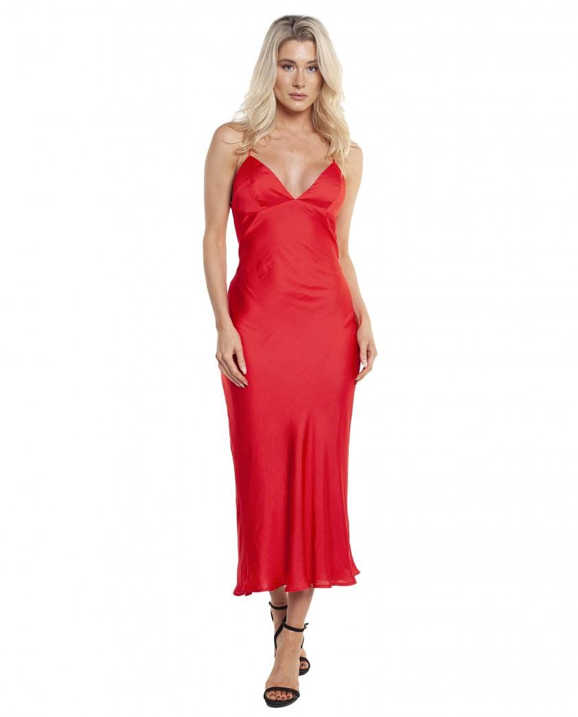 Bardot Fire Red Jassie Slip Dress
