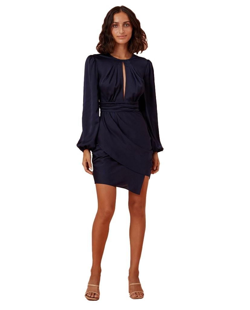 Finders Keepers Navy Gabriella Mini Dress