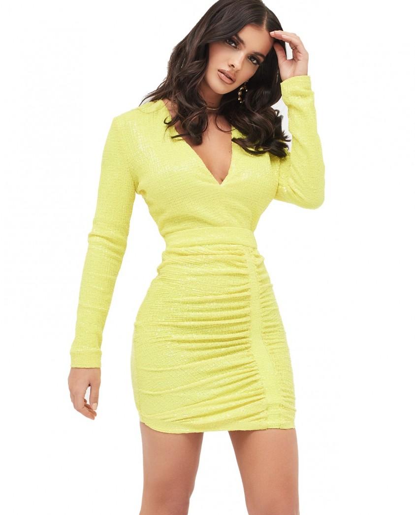 Lavish Alice Pleated Sequin Mini Dress In Acid Yellow