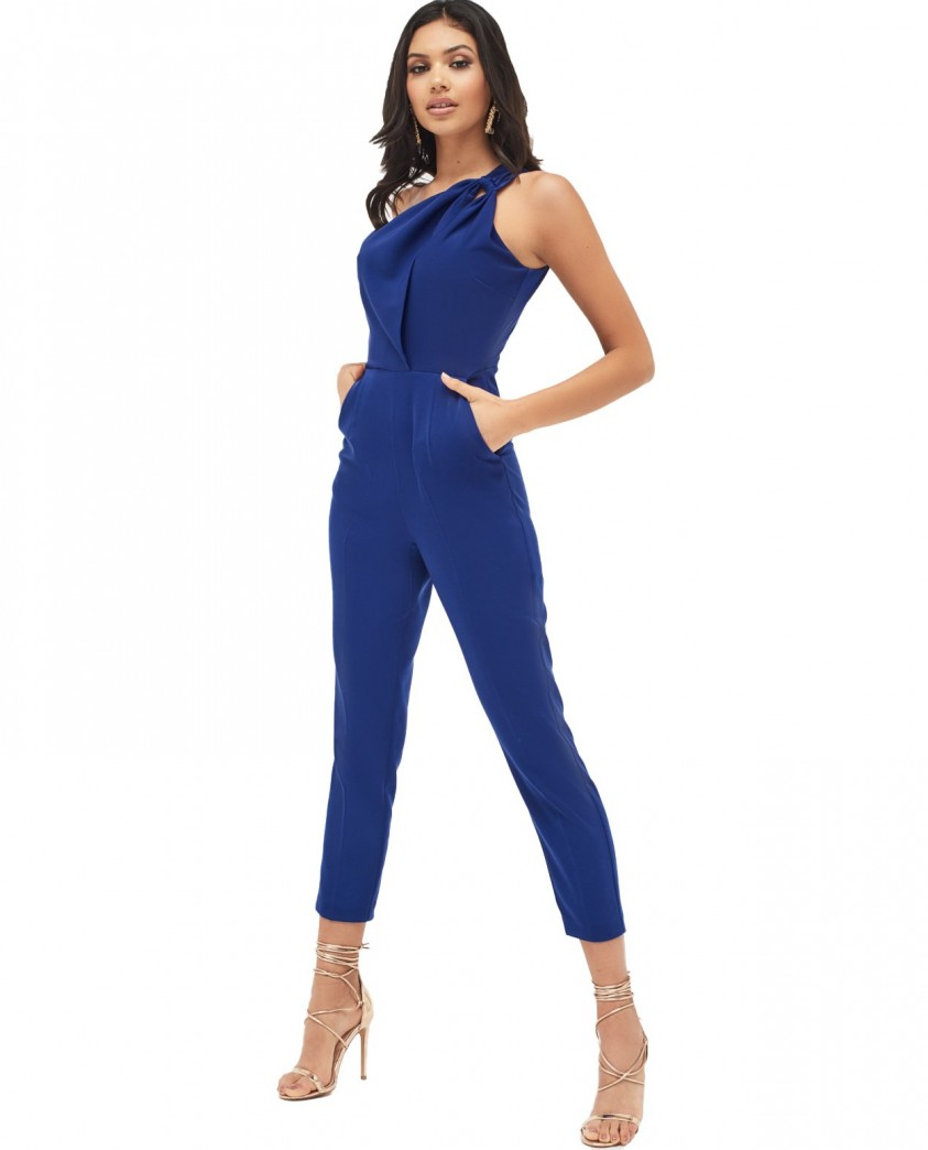 Lavish Alice One Shoulder Cutout Tapered Jumpsuit In Navy