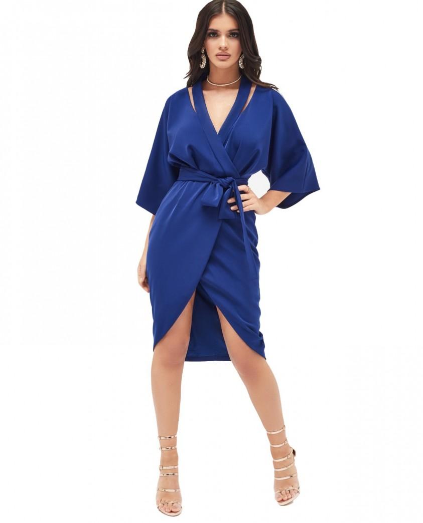 Lavish Alice Cutout Shoulder Kimono Wrap Dress In Navy