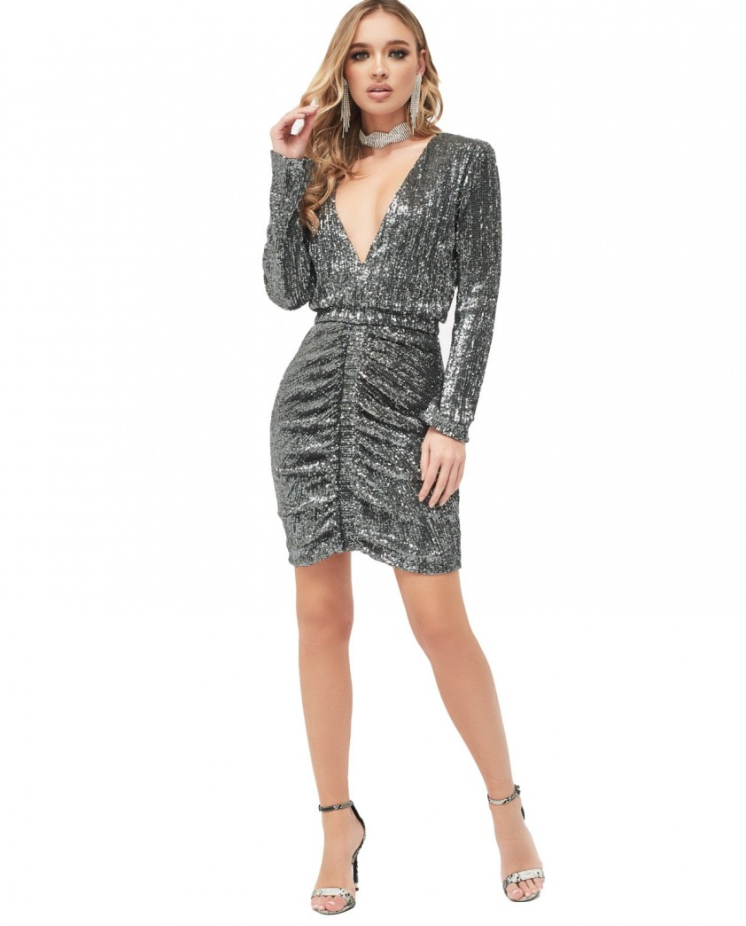 Lavish Alice Ruched Sequin Mini Dress In Grey Sequin