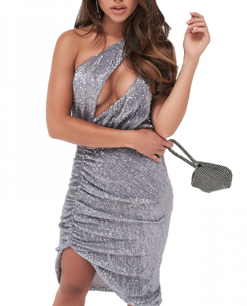 Lavish Alice Pleated Sequin One Shoulder Cut Out Ruched Side Midi Dress In Grey Sequin