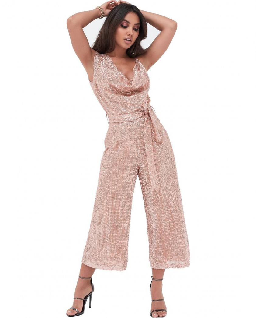 Lavish Alice Pleated Sequin Cowl Neck Culotte Jumpsuit In Pink Sequin