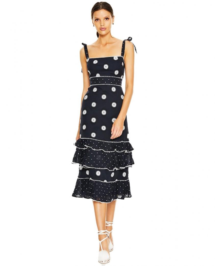 Talulah Midnight Daisy Whimsical Midi Dress