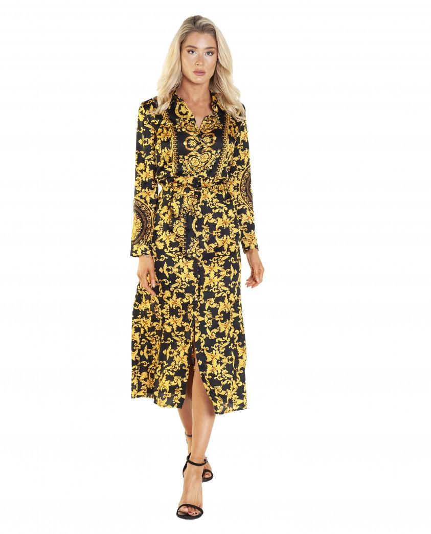 Bardot Bailey Gold Scarf Shirt Dress