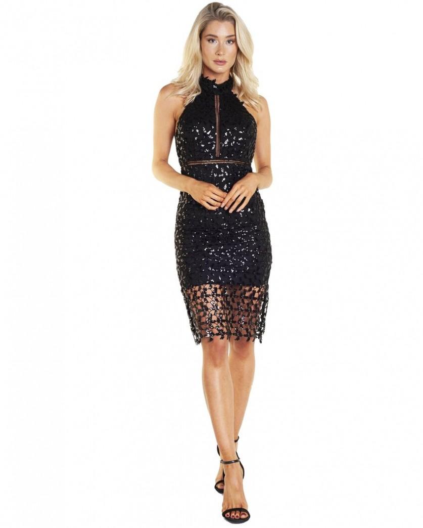 Bardot Sequin Leaf Dress