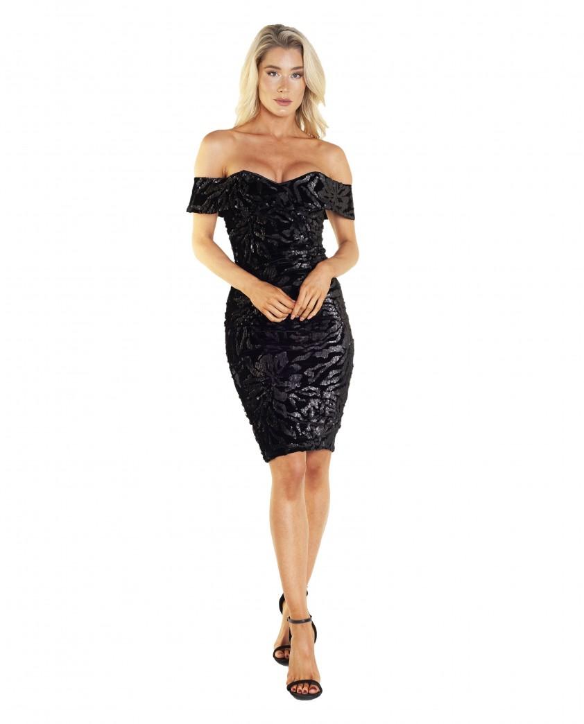Bardot Sequin Velvet Dress In Black