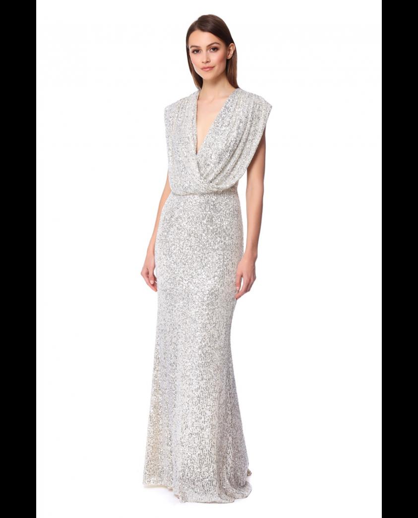 Jarlo Chloe Silver Maxi Dress