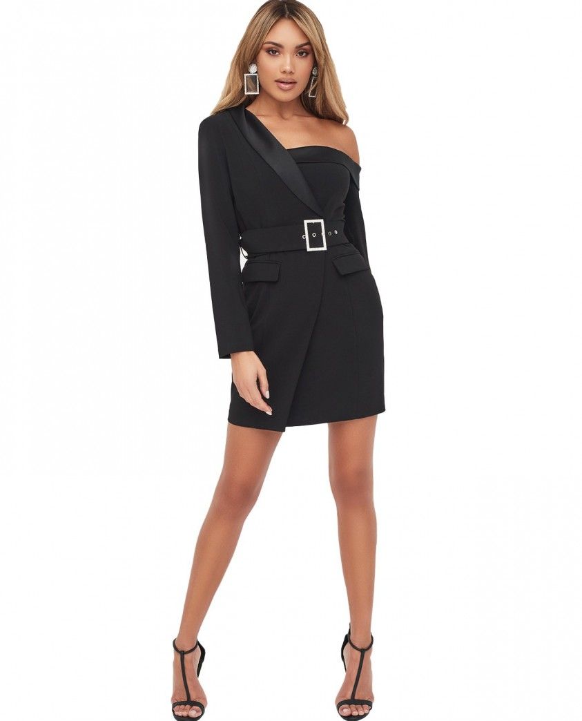 Lavish Alice Off The Shoulder Tuxedo Mini Dress