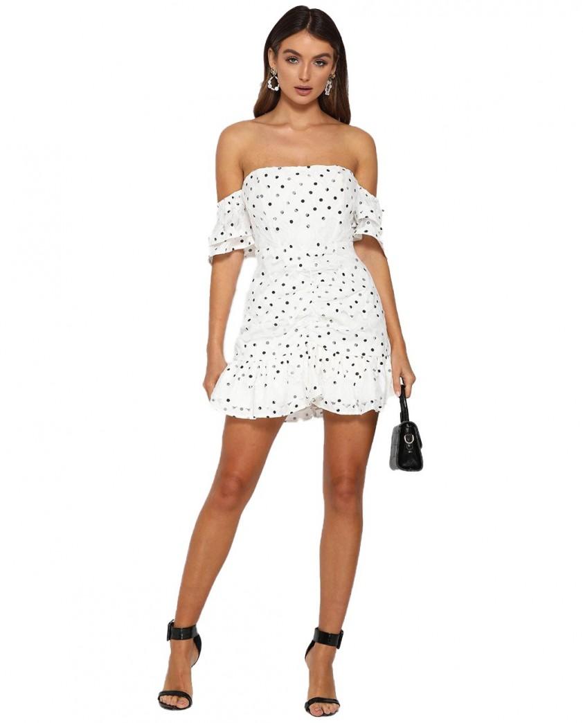 Runaway The Label Tiana Frill Mini White Dress