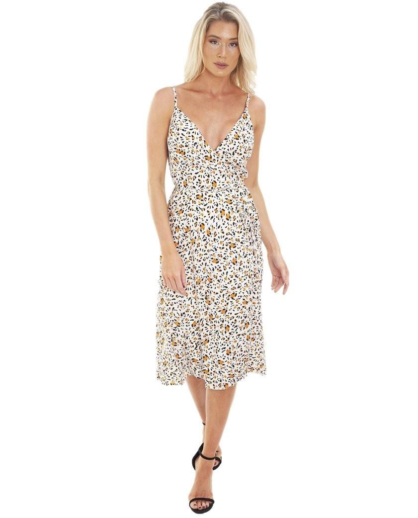 WAYF Rosie Slit Front Wrap Dress