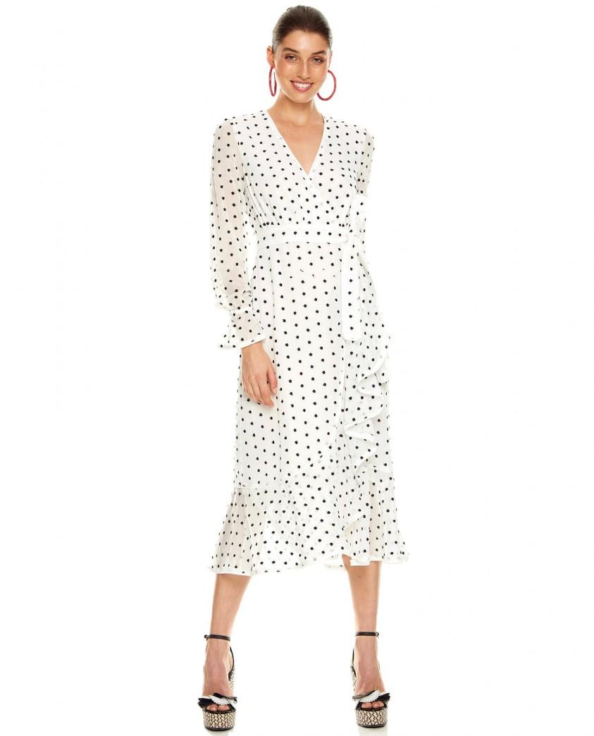 Talulah White Polka Dot Midi Dress