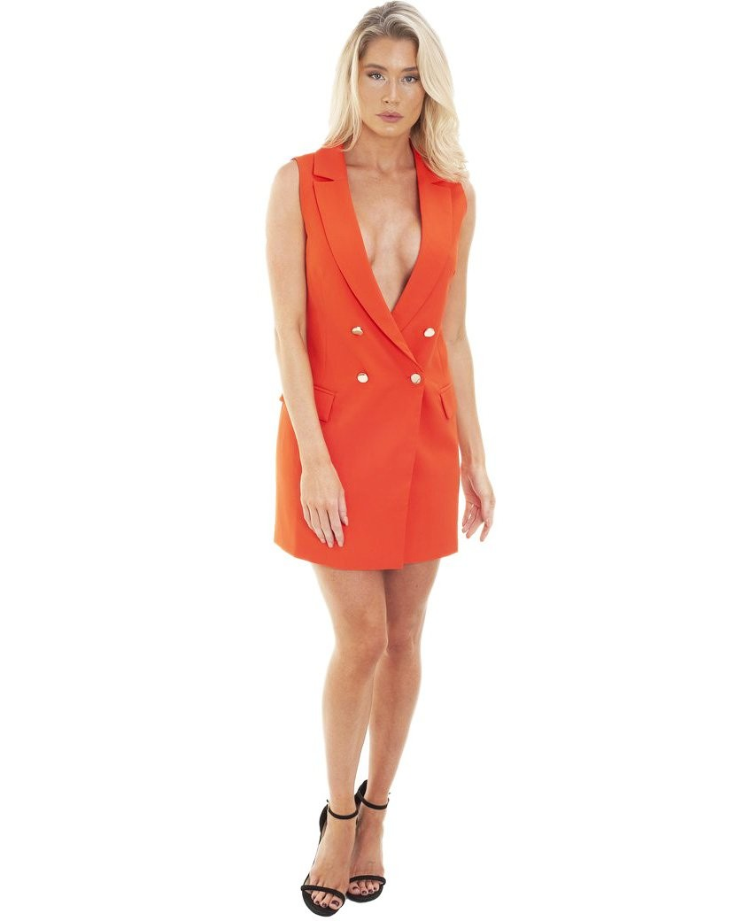 Runaway The Label Coral Sleeveless Blazer Dress