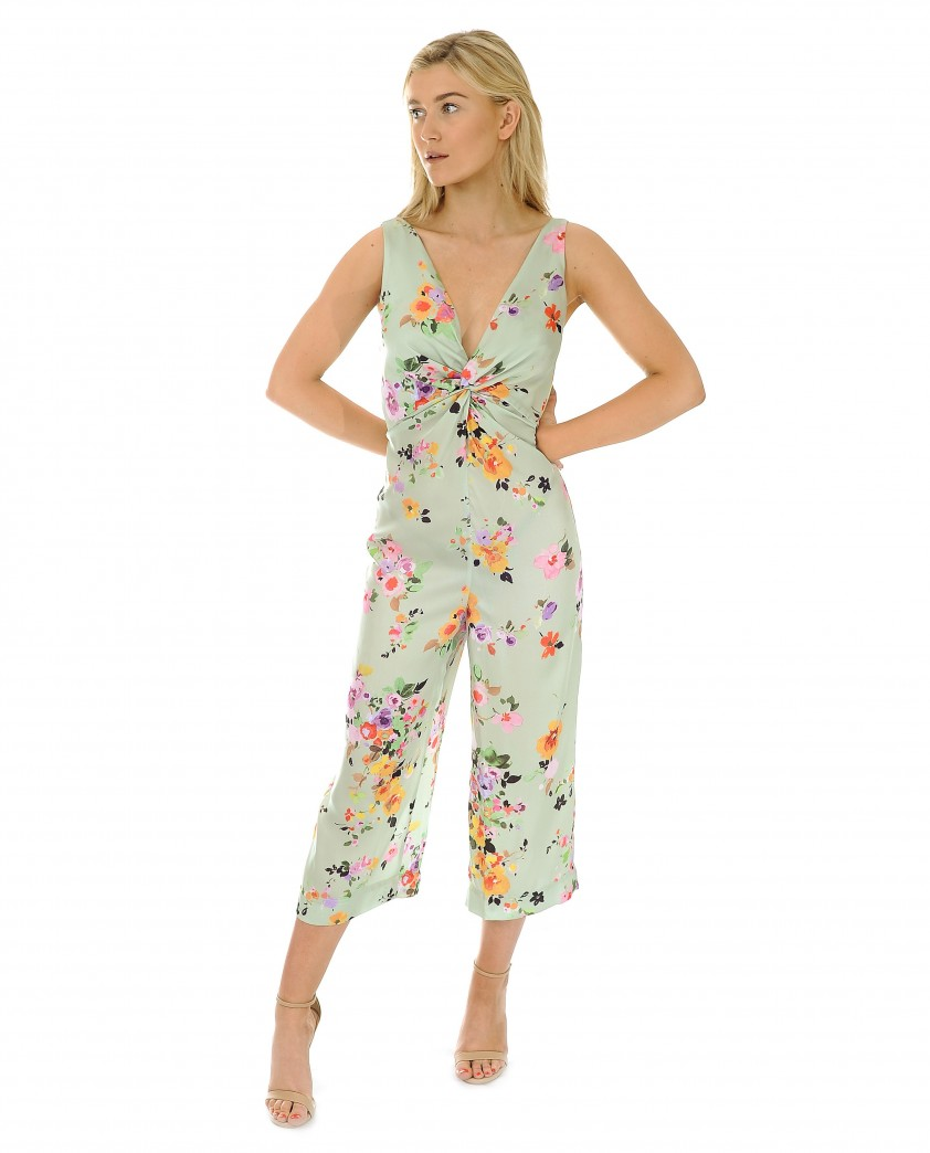 Zara Green Floral Satin Jumpsuit