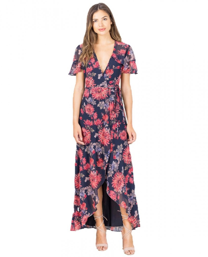 Hope & Ivy Navy Floral Wrap Maxi Dress
