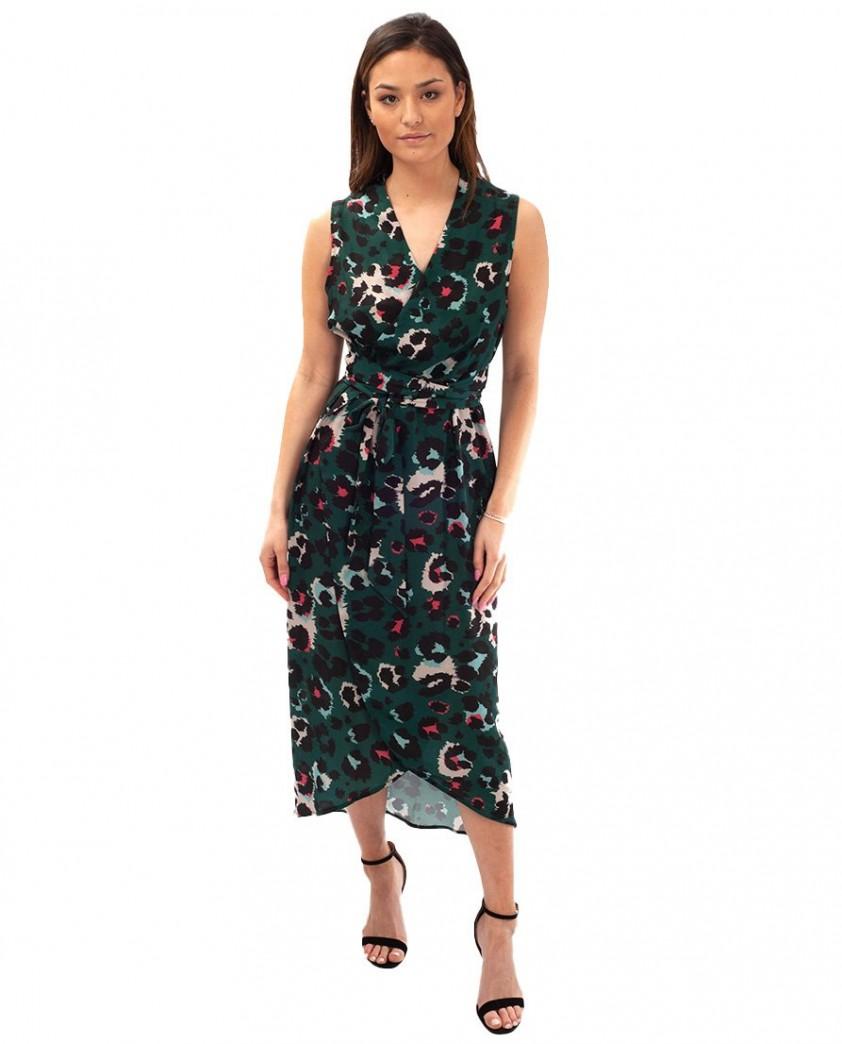 Never Fully Dressed Green Leopard Print Wrap Midi Dress