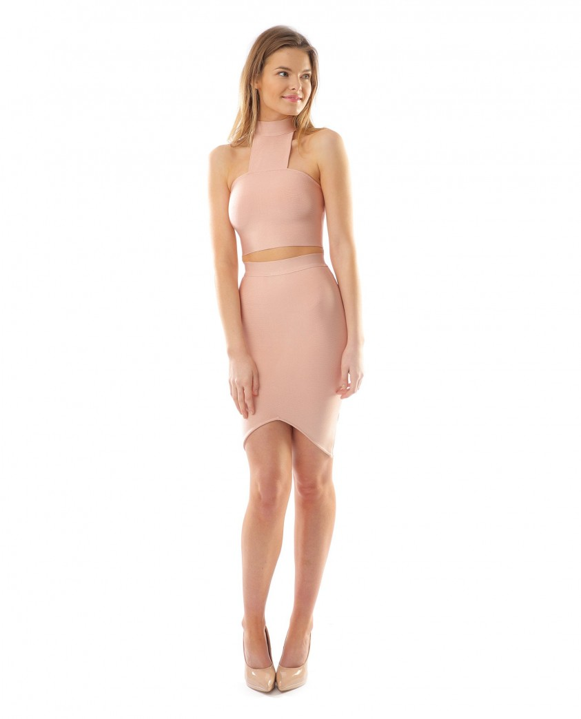 Pale Pink Bodycon Two Piece