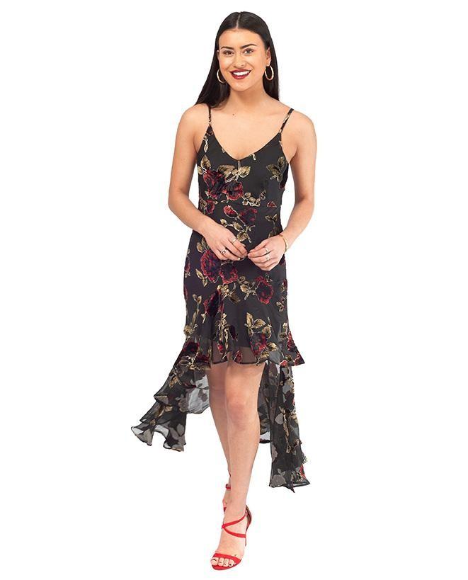 Never Fully Dressed Black Floral Velvet Dress