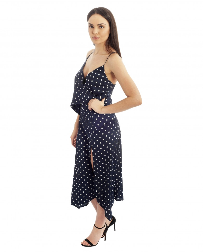 Navy Polka Dot Wrap Dress With Spaghetti Straps