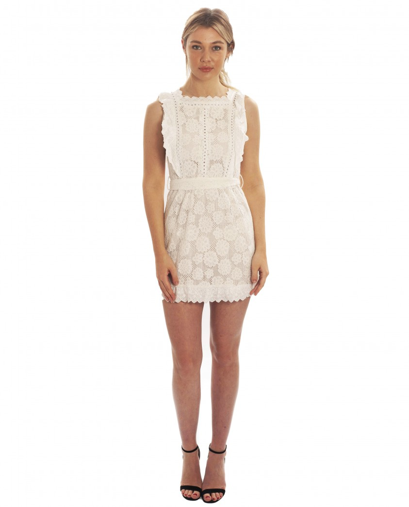 White Floral Lace Mini Dress With Frill Detail