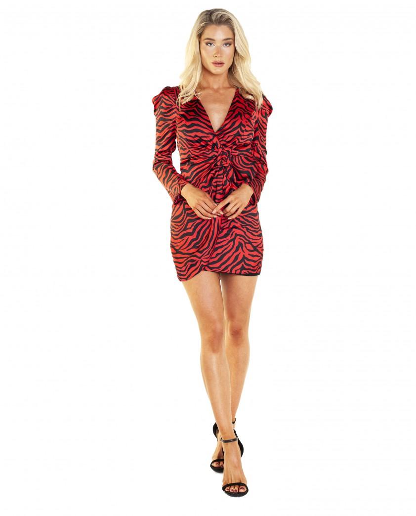 Bardot Red Zebra Print Dress