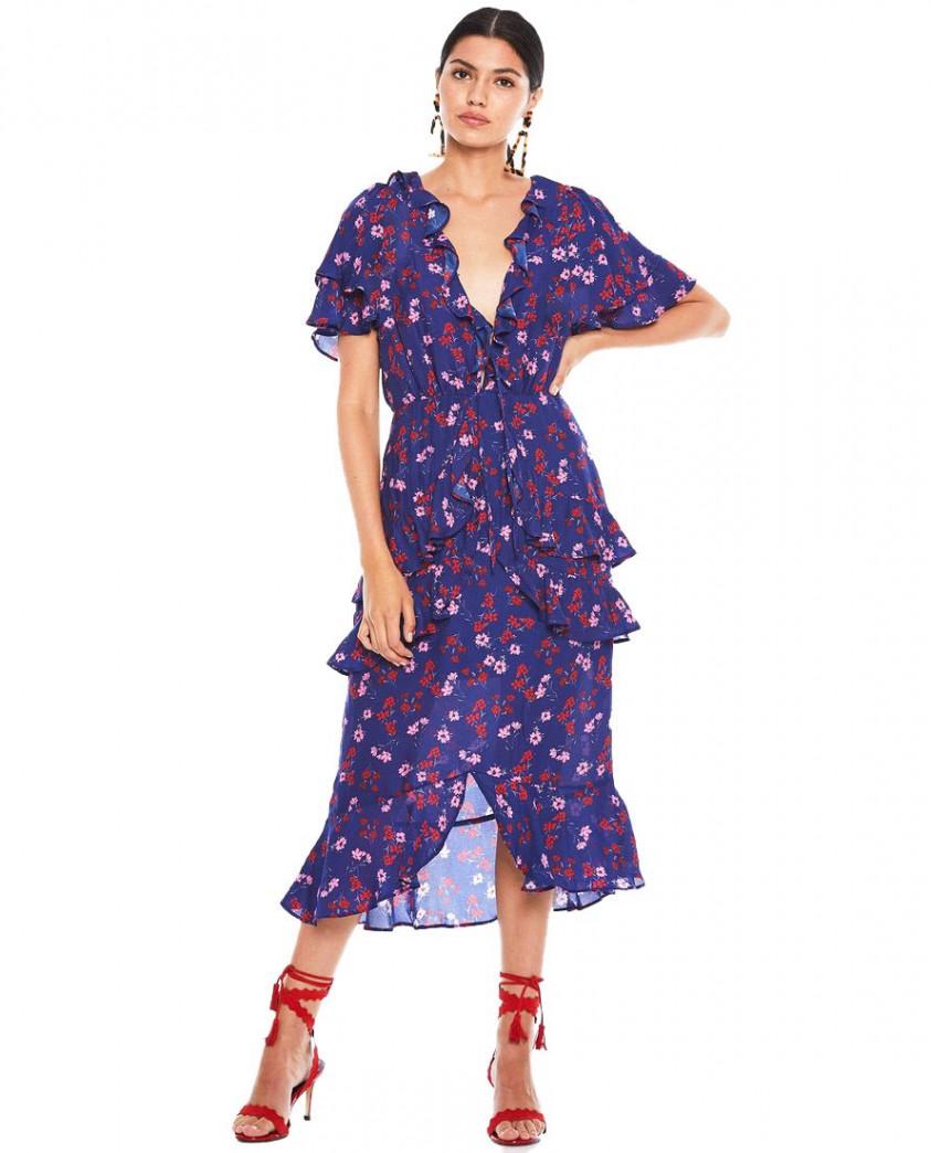 Talulah Navy Floral Ruffle Midi Dress