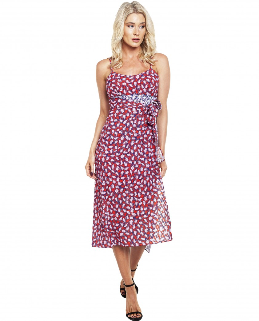 The East Order Anouk Pink Leaf Midi Dress