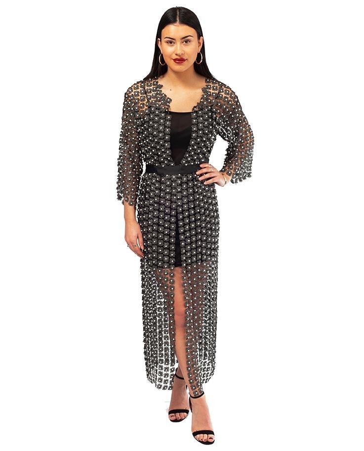 Black Beaded Wrap Maxi Dress