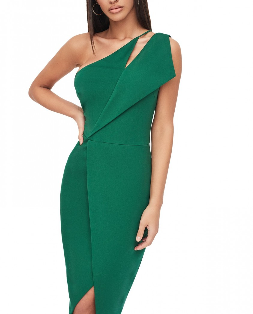 Lavish Alice One Shoulder Cutout Midi Wrap Dress In Emerald Green