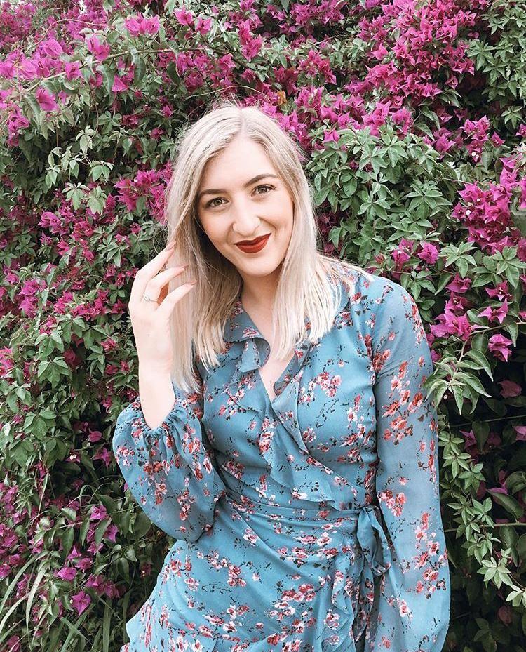 Bardot Blue Rose Mini Dress With Frill Detail