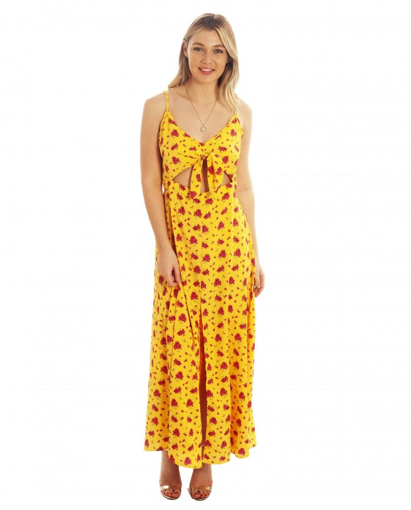 Dancing Leopard Malibu Dress In Mustard Daisy