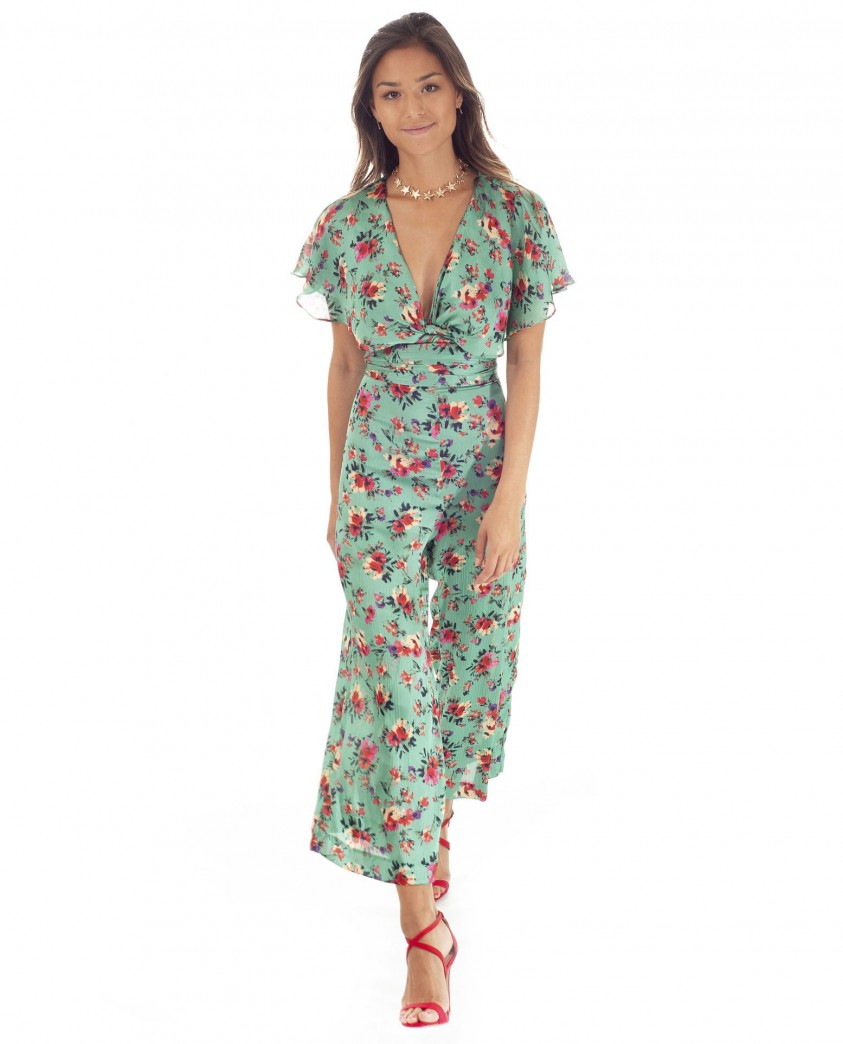 Zara Green Floral Wrap Jumpsuit