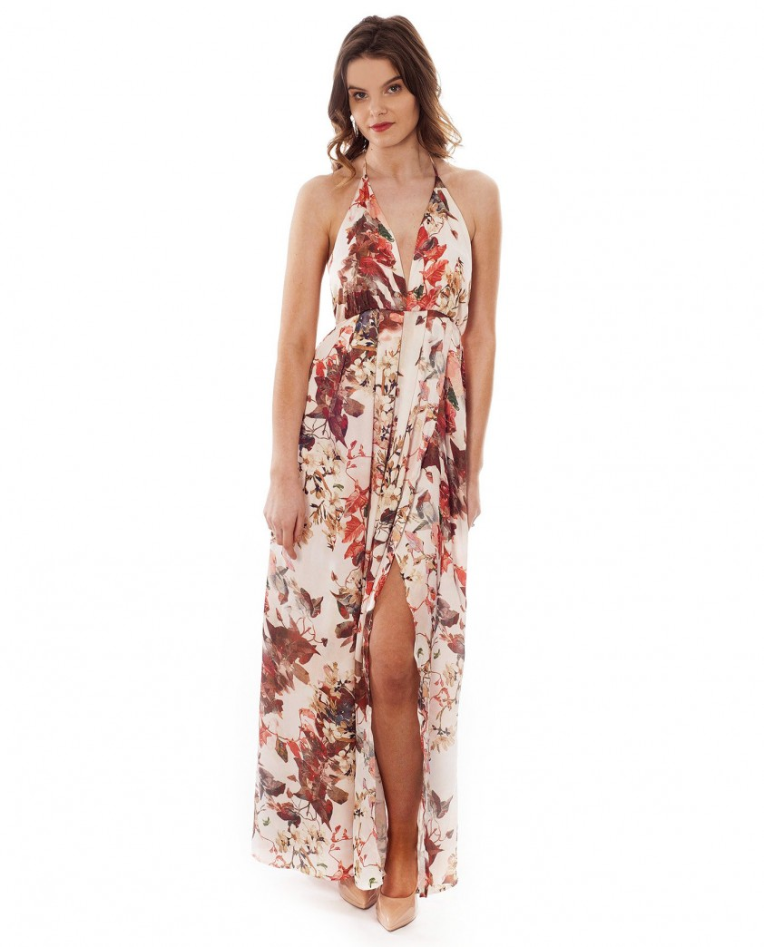 Floral Maxi Dress With Cross Back Detail