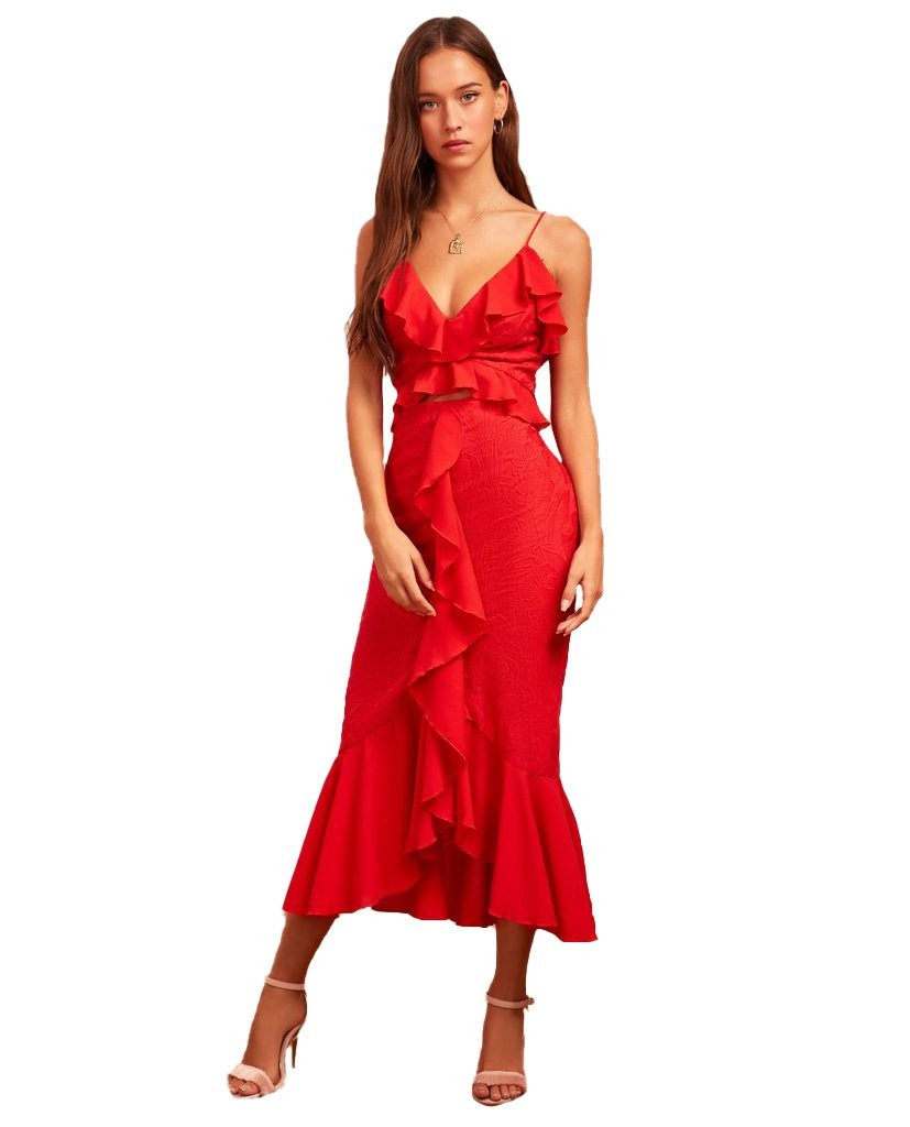Finders Keepers Red Ruffle Midi Dress