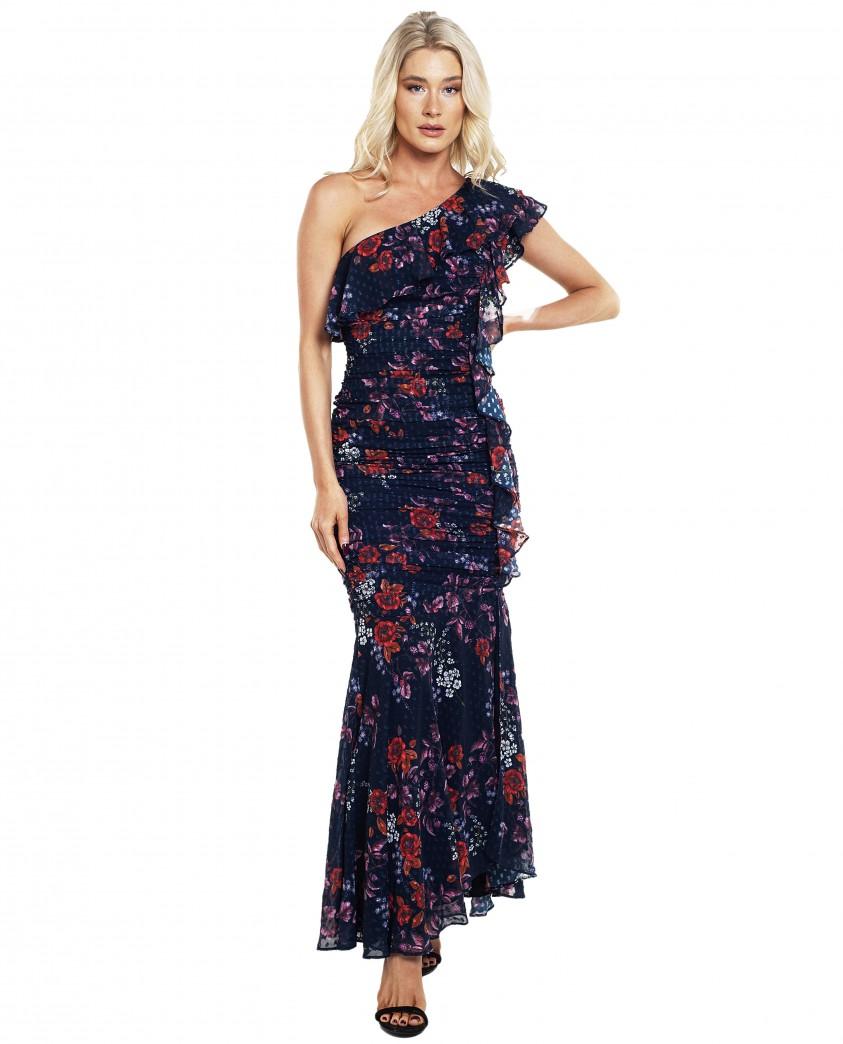 Keepsake The Label Navy Floral Ruffle Maxi Dress